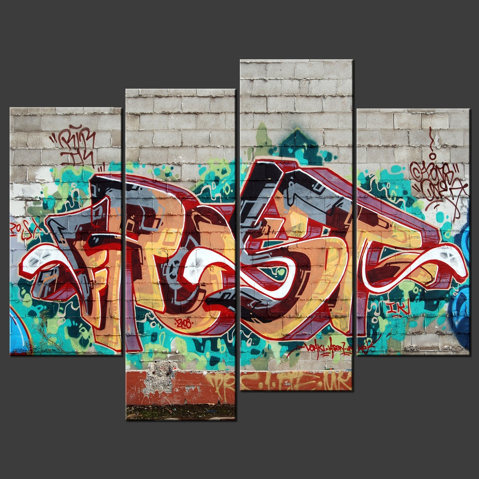 Wall Art Decor: Multi Panel Graffiti Canvas Wall Art Awesome Regarding Newest Abstract Graffiti Wall Art (View 15 of 20)
