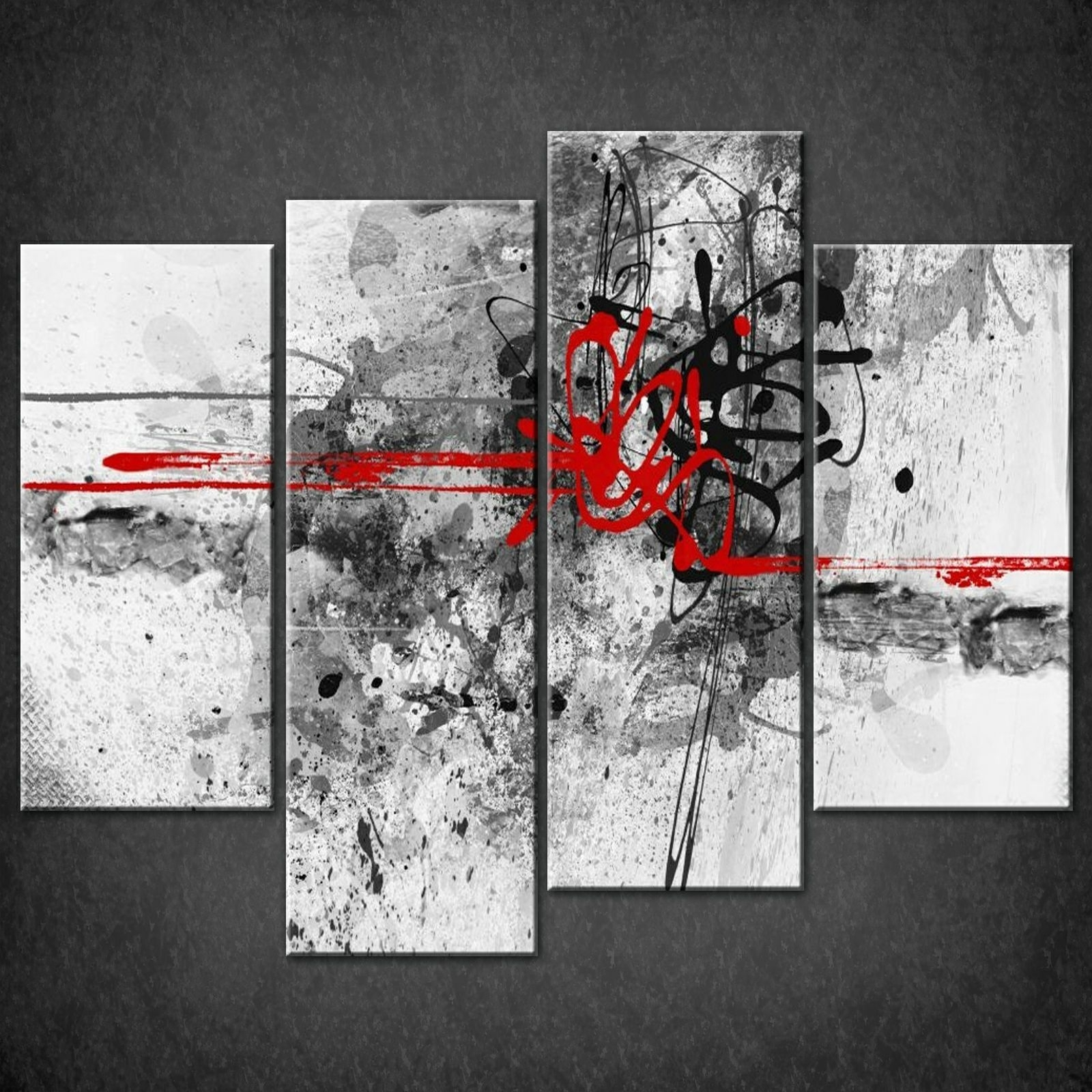 Wall Art Design: Abstract Canvas Wall Art Rectangle 4 Piece Grey For 2017 Abstract Wall Art Prints (View 3 of 21)