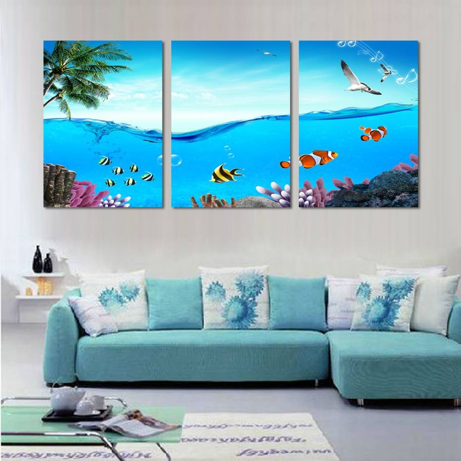 Wall Art Designs: Beach Wall Art Modern 3 Piece Wall Art Tropical Regarding 2017 Coastal Wall Art Decor (View 7 of 20)