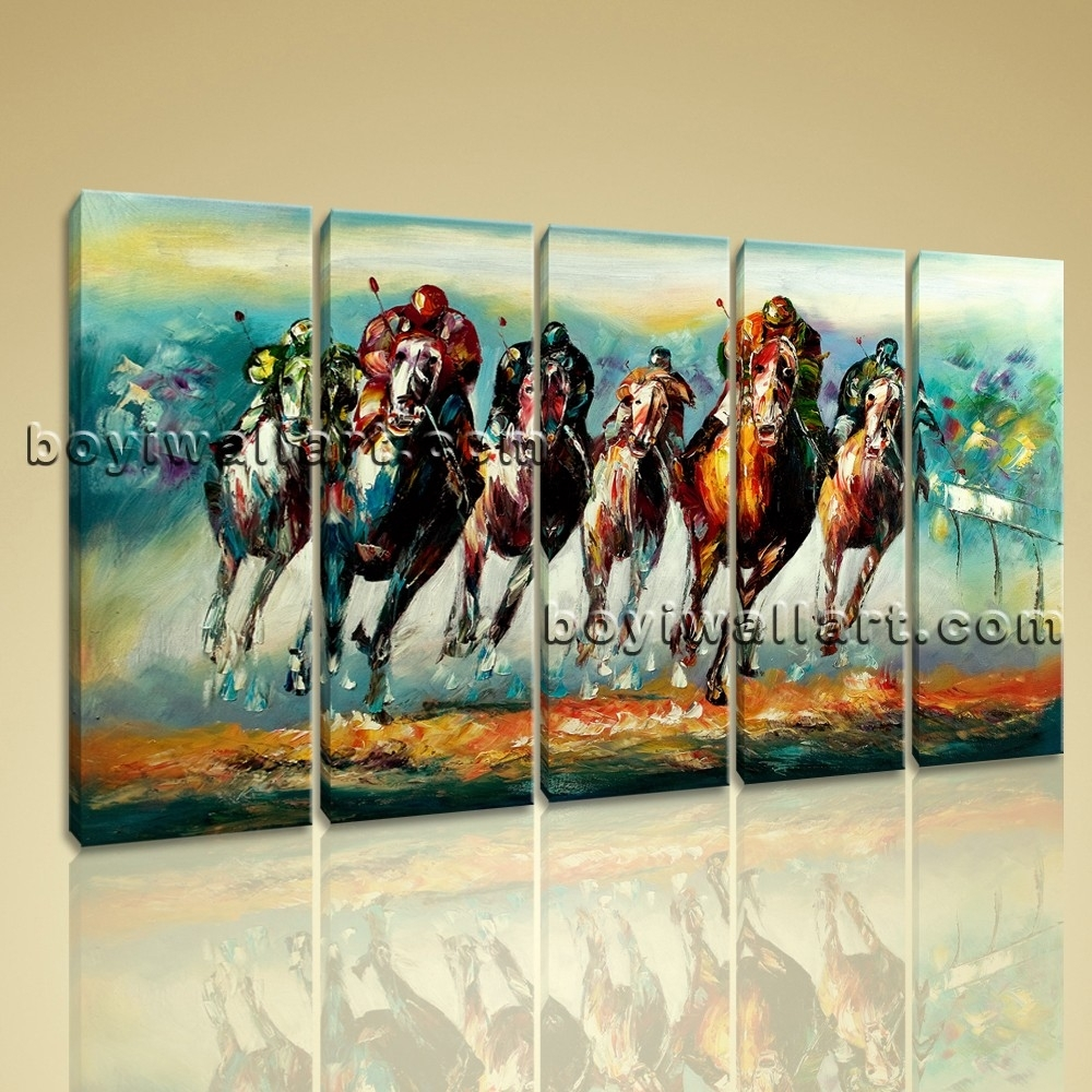 Wall Art Famous Horse Racing Abstract Painting On Canvas Print Framed With Regard To Most Recent Abstract Horse Wall Art (View 18 of 20)