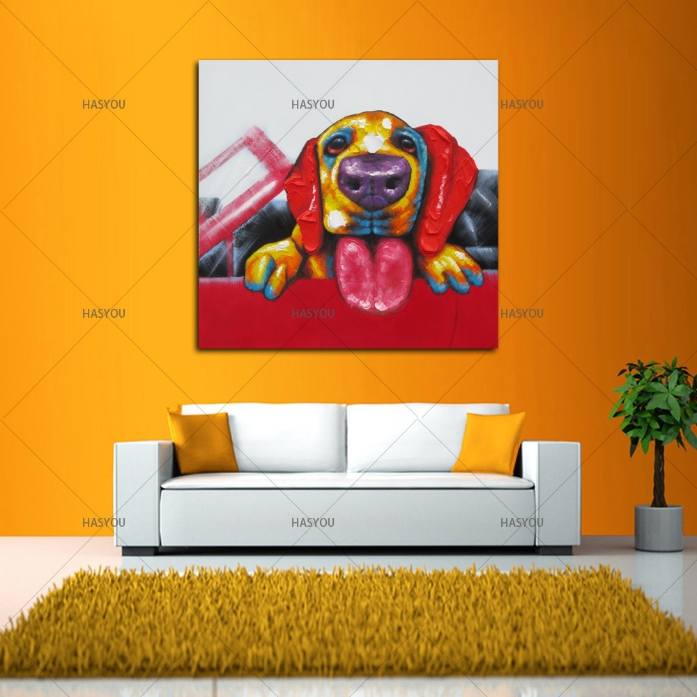 Wall Art For Large Fashion Painting Canvas Animal Picture Abstract Within Most Recently Released Abstract Dog Wall Art (View 13 of 20)