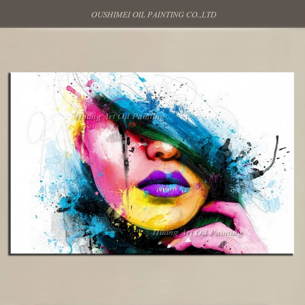 Wall Art For Large Fashion Painting Canvas Women Face Picture In Latest Abstract Graphic Wall Art (View 18 of 20)