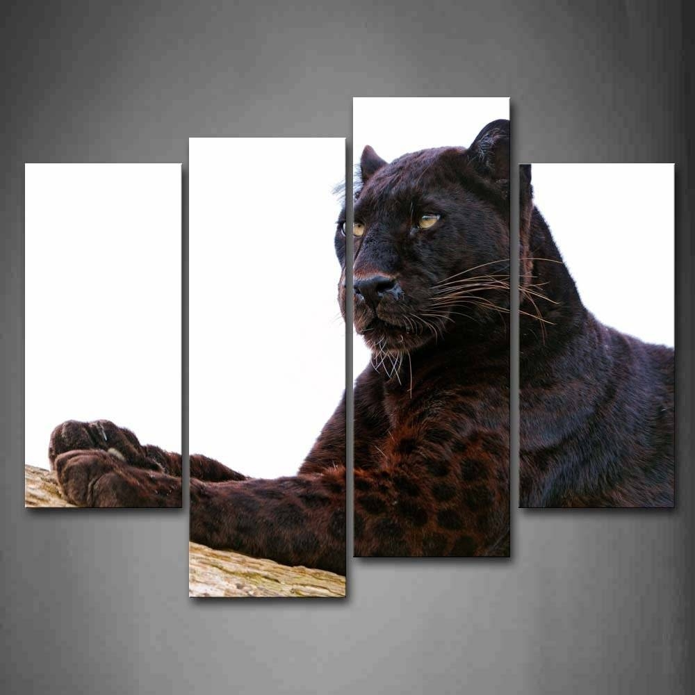 Wall Art Painting Canvas Picture Print On Canvas Black Panther Lie With Recent Wooden Animal Wall Art (View 17 of 20)