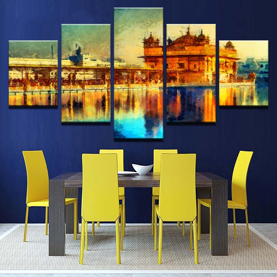 Wall Art Pictures Frame Home Decor Living Room 5 Pieces Golden Pertaining To Latest Abstract Wall Art For Dining Room (View 19 of 20)