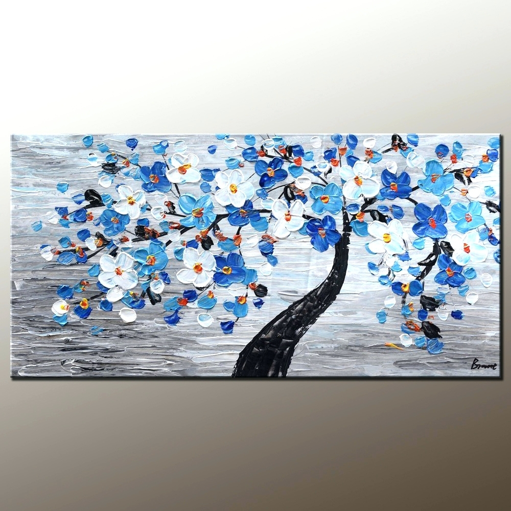 Wall Arts ~ Abstract Painting Canvas Art Flower Tree Painting Wall Inside Most Up To Date Abstract Garden Wall Art (View 9 of 20)