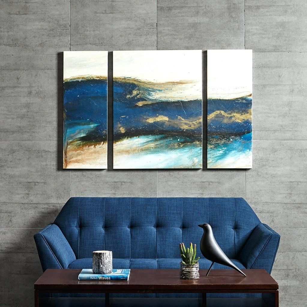Wall Arts ~ Blue Gray Abstract Wall Art Blue Abstract Canvas Art With Latest Blue Abstract Wall Art (View 2 of 20)