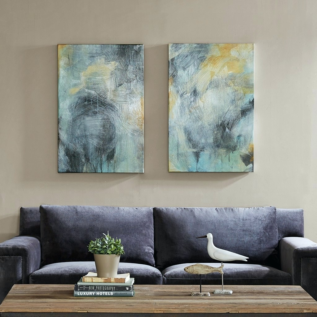 Wall Arts ~ Canvas Abstract Wall Art Blue Romantic Moon Lover Within 2017 Abstract Canvas Wall Art Australia (View 15 of 20)