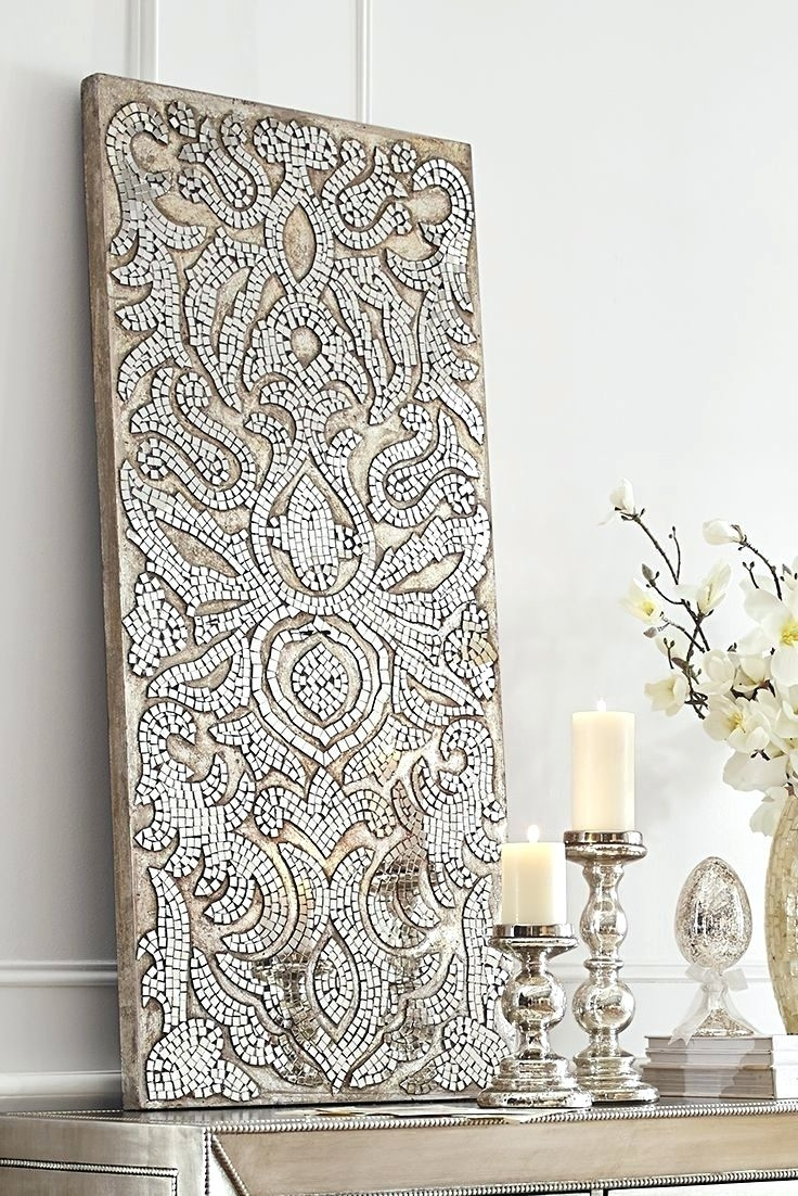 Wall Arts ~ Champagne Mirrored Mosaic Damask Panel Pier One Inside Best And Newest Pier One Abstract Wall Art (View 10 of 20)