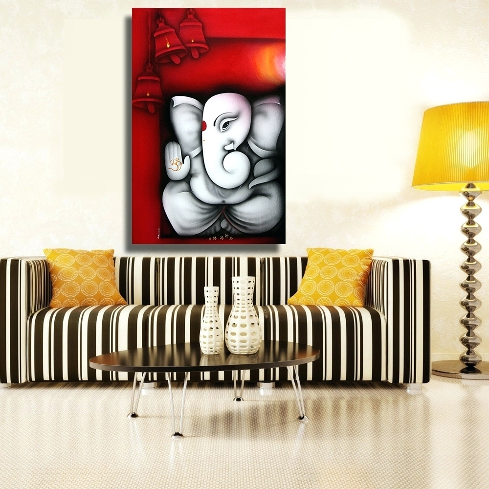 Wall Arts ~ Chenfart Canvas Painting Ganesha Buddha Wall Art Wall Throughout Latest Abstract Ganesha Wall Art (View 17 of 20)
