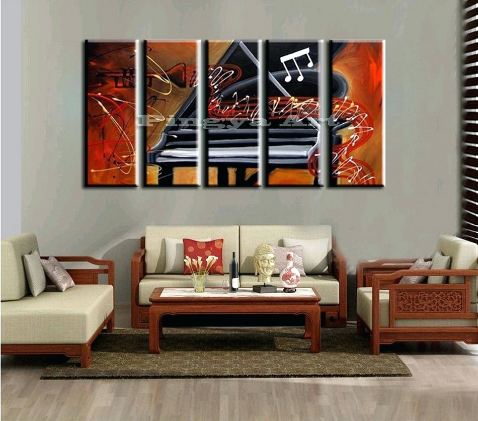Wall Arts ~ Extra Large Canvas Abstract Wall Art 5 Panel Large Within Newest Abstract Piano Wall Art (View 16 of 20)
