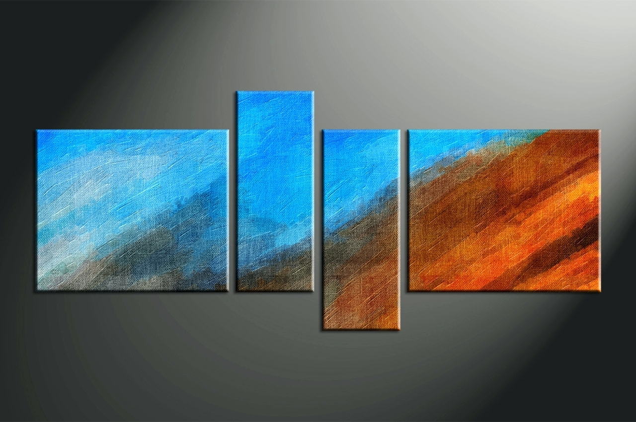 Wall Arts ~ Home Decor 4 Piece Canvas Wall Art Abstract Multi Within Latest Dark Blue Abstract Wall Art (View 6 of 20)