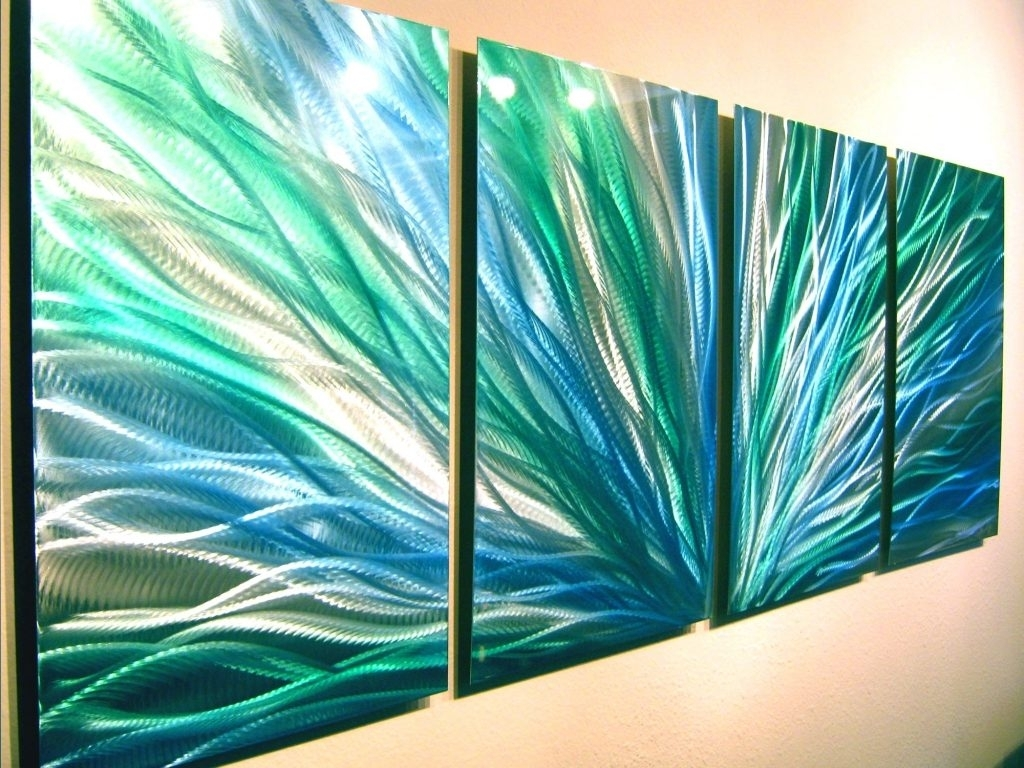 Wall Arts ~ Radiance Blue Green Abstract Metal Wall Art With Most Popular Abstract Metal Fish Wall Art (View 20 of 20)