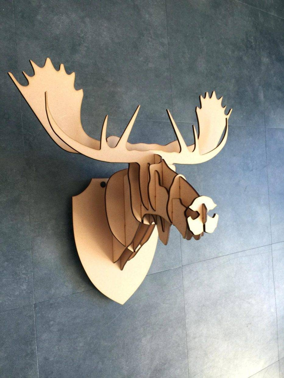 Wall Decor : 67 Large Small Wooden Moose Head Kit 3D Wall Art With 2018 Wooden Animal Wall Art (Gallery 6 of 20)