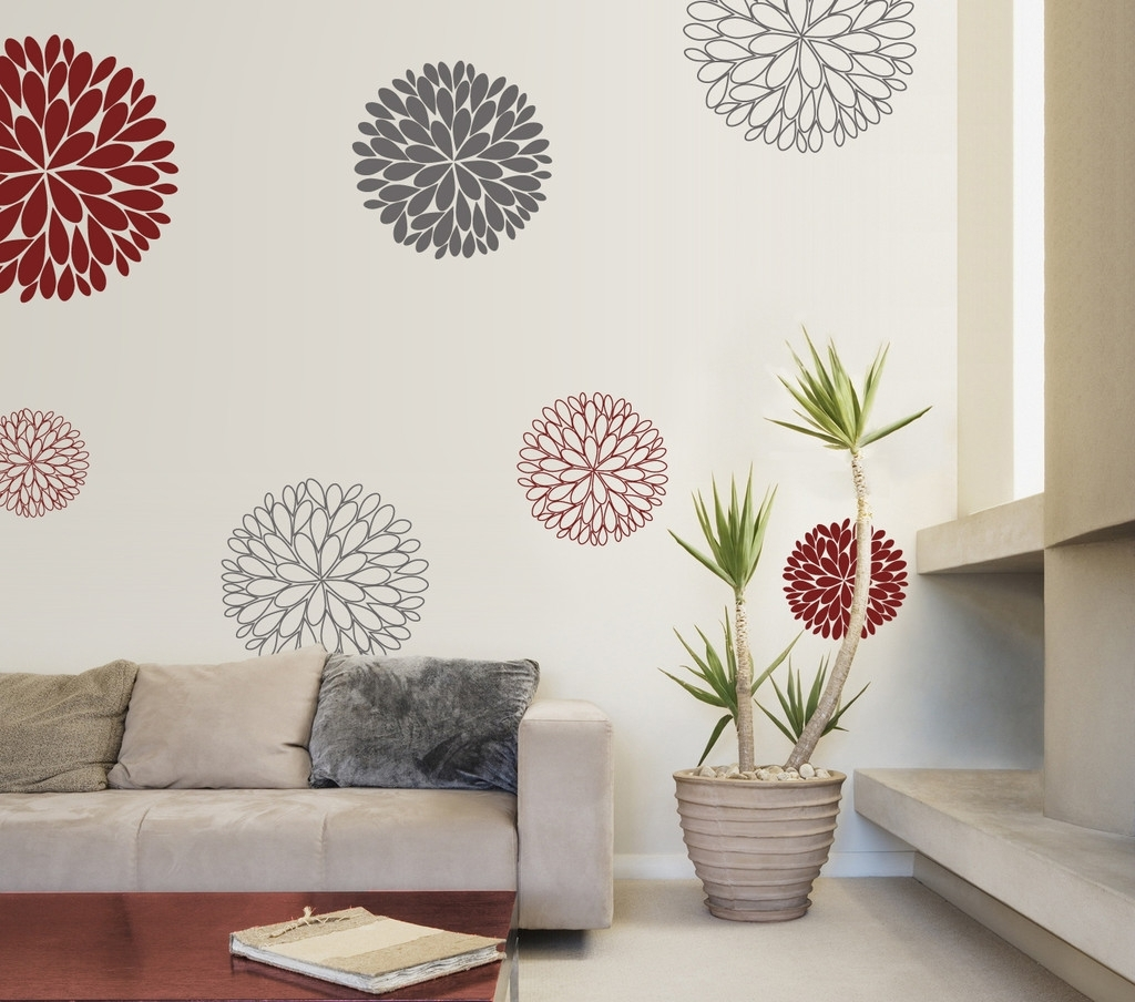 Warm Design Wall Decals With Flower Applique Sticker Of Some Within Recent Abstract Flower Wall Art (View 17 of 20)