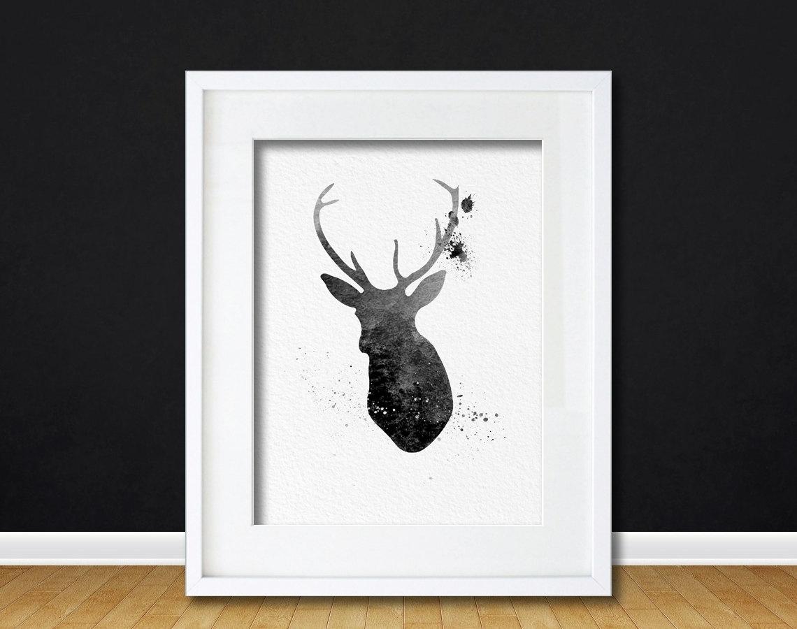 Watercolor Art Buck Deer Gift Modern 8x10 Wall Art Decor Buck Deer In 2017 Abstract Deer Wall Art (View 15 of 20)