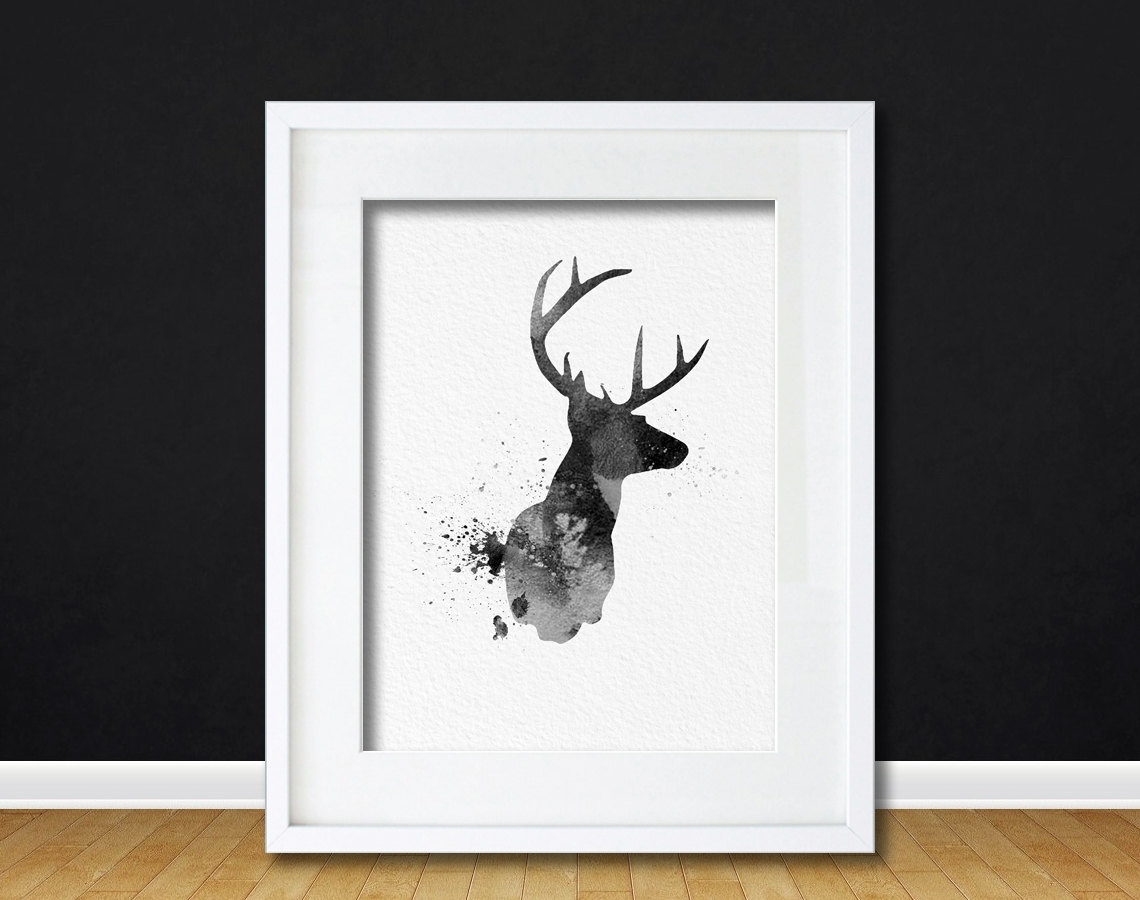 Watercolor Art Buck Deer Gift Modern 8x10 Wall Art Decor Buck Deer In 2017 Abstract Jazz Band Wall Art (View 13 of 20)