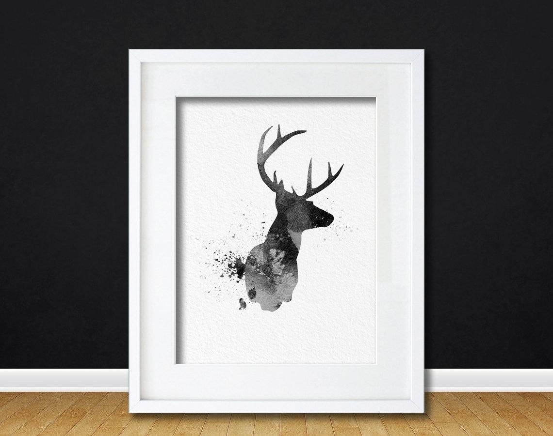 Watercolor Art Buck Deer Gift Modern 8X10 Wall Art Decor Buck Deer In 2017 Abstract Jazz Band Wall Art (View 18 of 20)