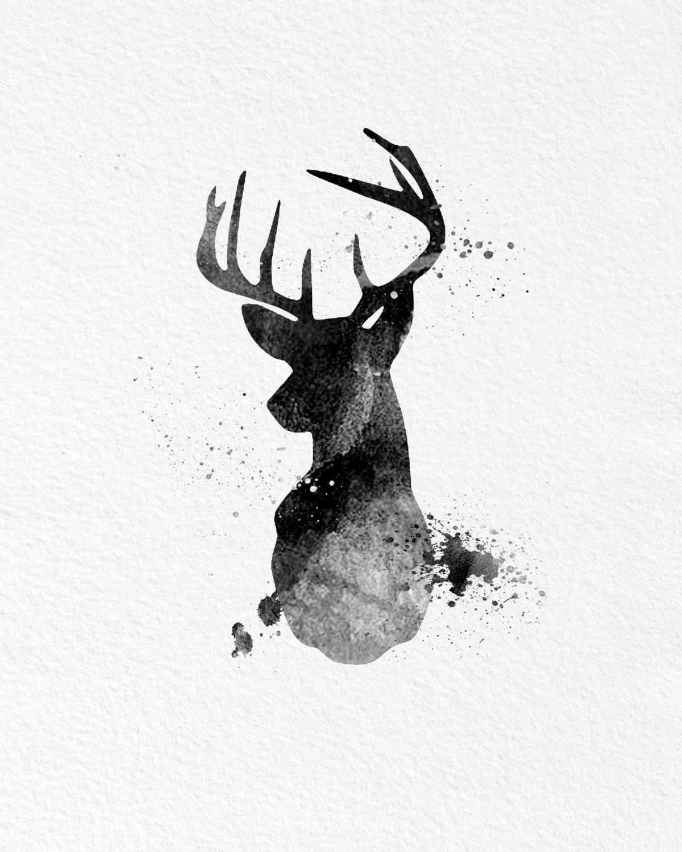 Watercolor Art Buck Deer Gift Modern 8x10 Wall Art Decor Buck Deer With Regard To Recent Abstract Deer Wall Art (View 2 of 20)