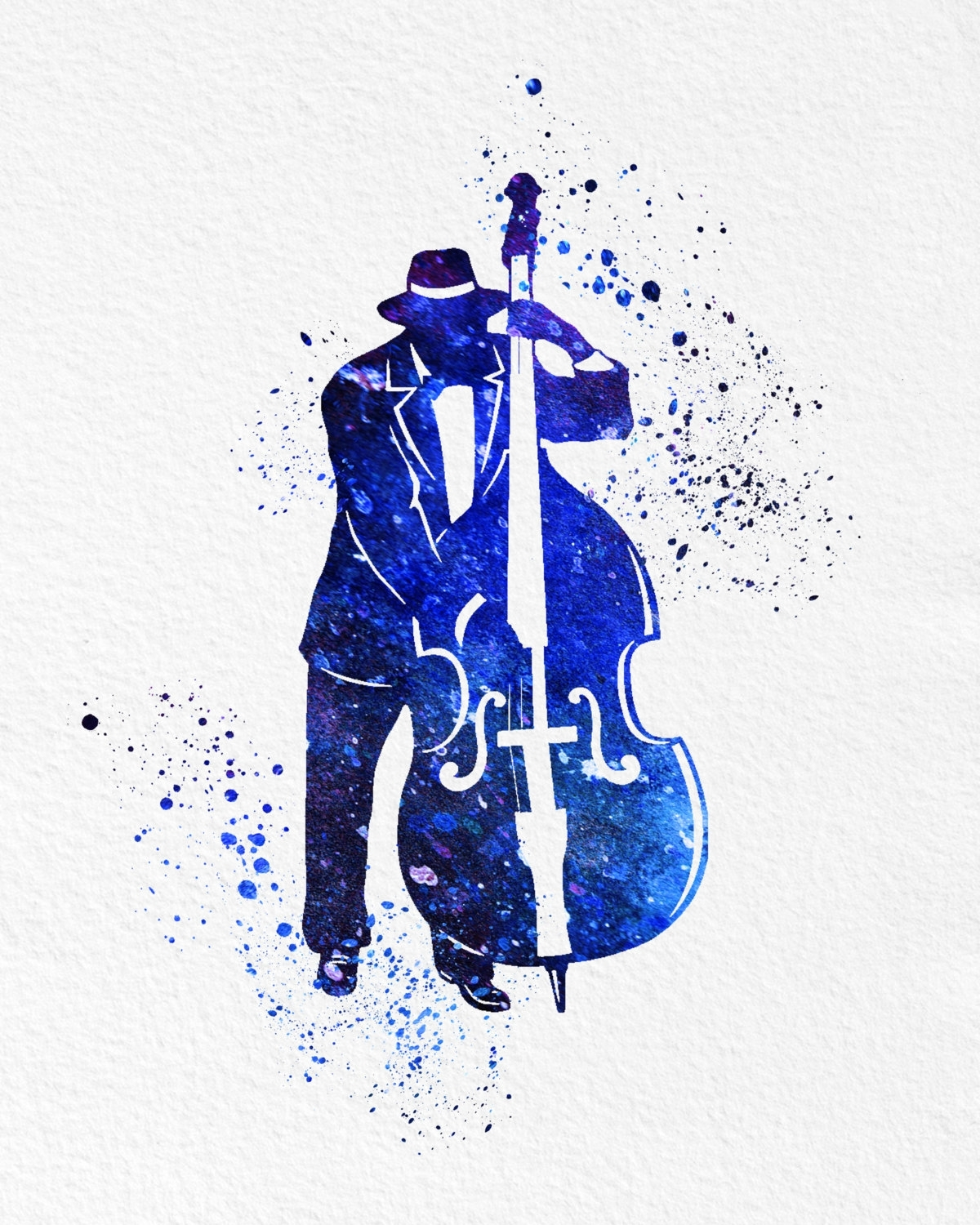 Watercolor Art Print Bass Jazz Player Modern 8X10 Wall Art Decor With Most Up To Date Abstract Jazz Band Wall Art (View 19 of 20)
