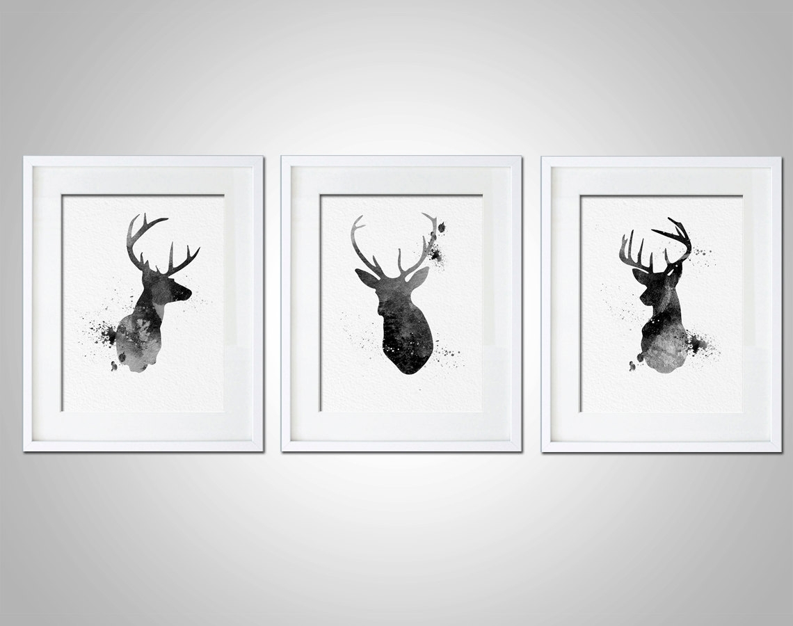 Watercolor Art Print Neon Deer Head Box Set Of 3 Modern 8X10 Wall With Regard To 2018 Abstract Deer Wall Art (View 19 of 20)