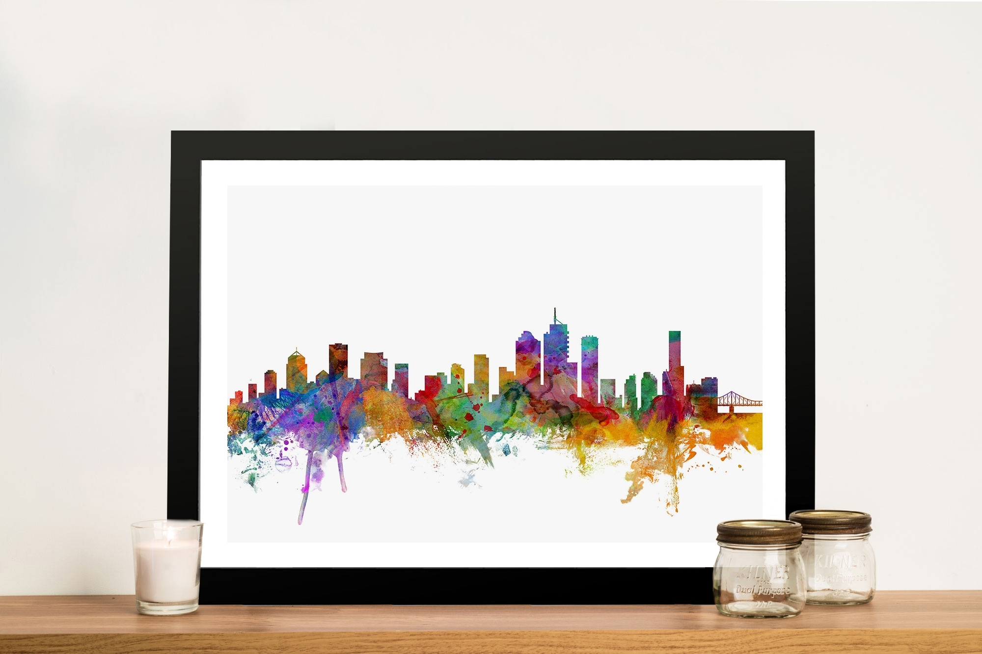 Watercolour Brisbane Skyline Wall Printmichael Tompsett Inside 2018 Brisbane Abstract Wall Art (View 20 of 20)