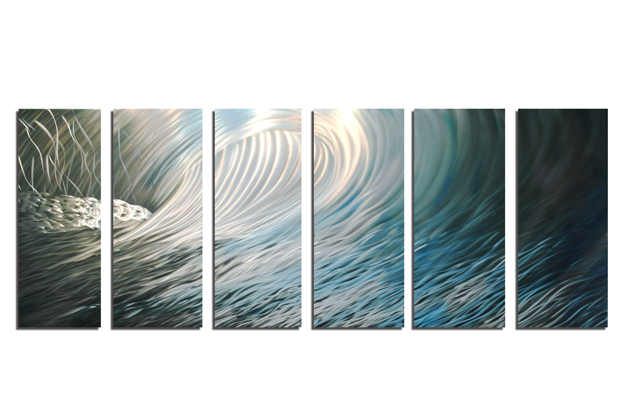 Wave 36X96 – Abstract Metal Wall Art Contemporary Modern Decor Regarding Most Current Aqua Abstract Wall Art (View 20 of 20)