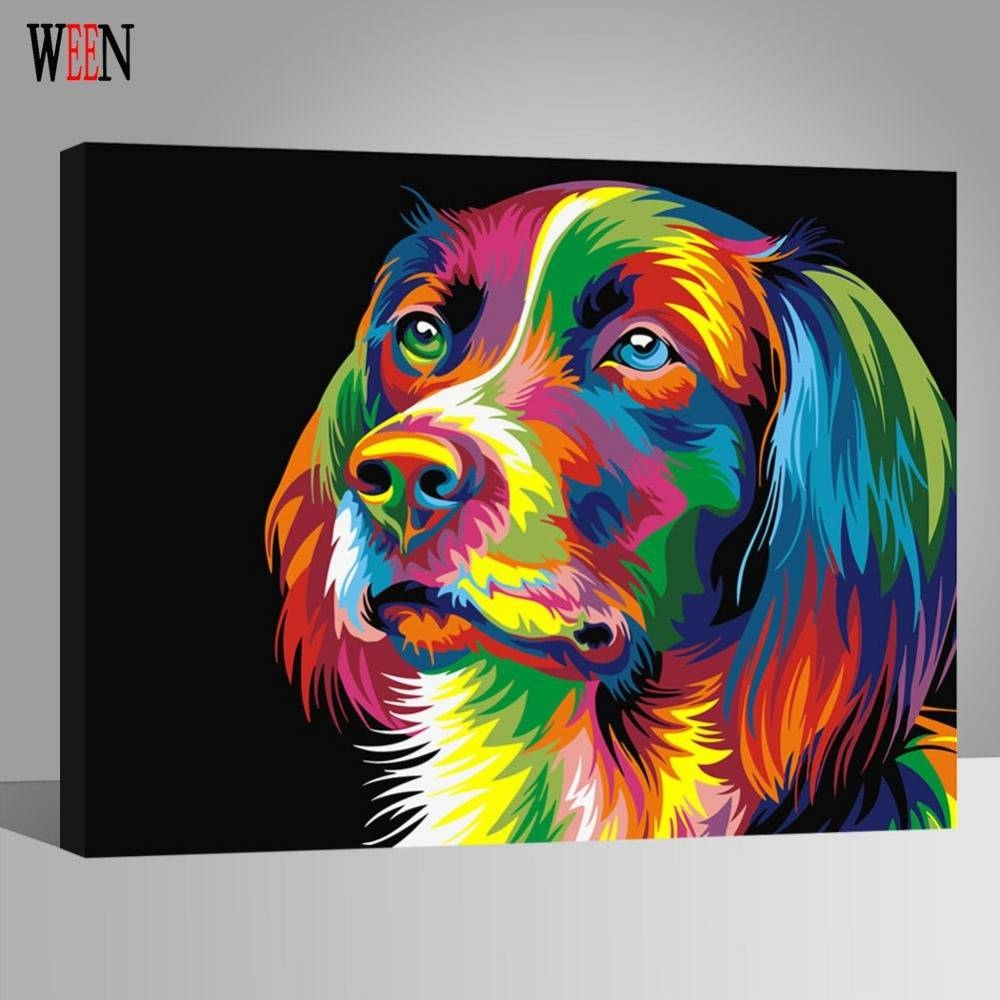 Ween Colorful Dog Abstract Painting Diy Digital Paintngnumbers Within Current ColorfulAnimal Wall Art (View 19 of 20)