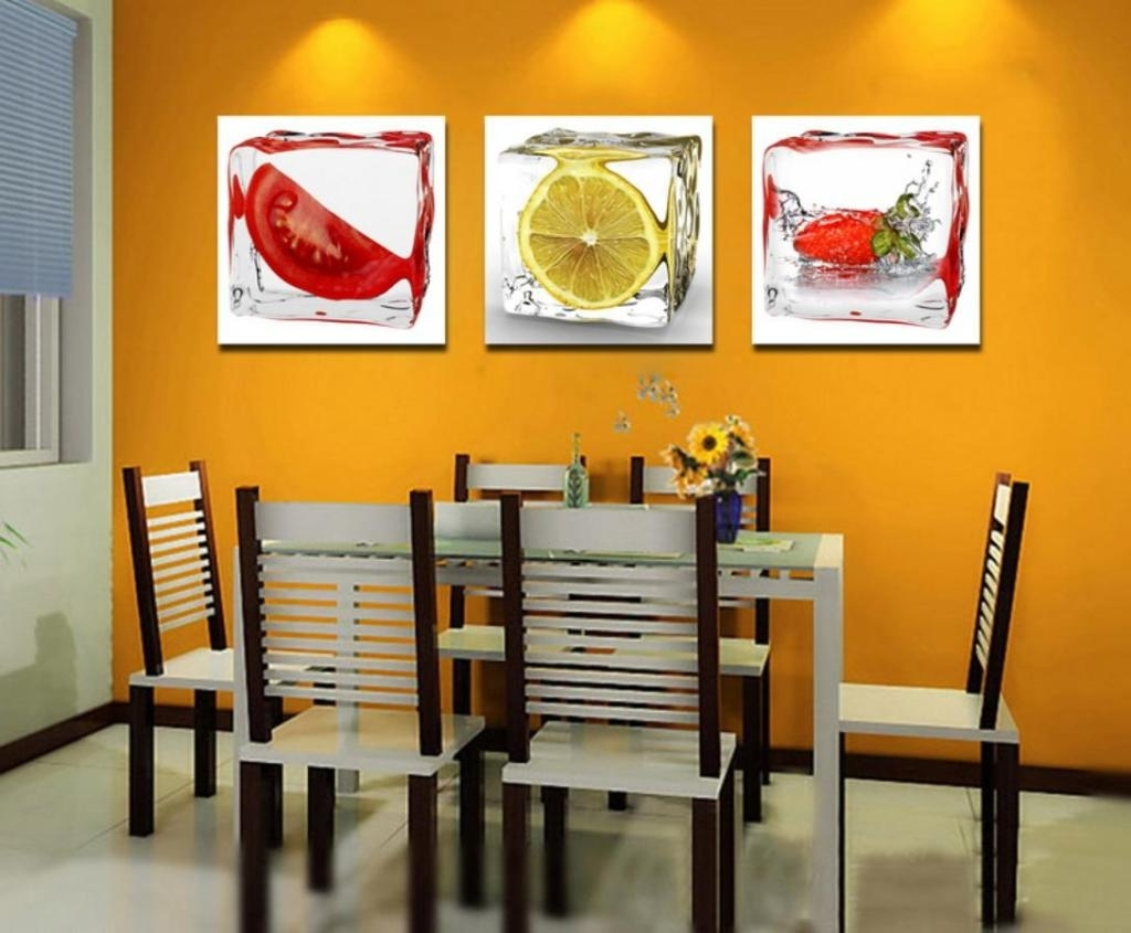Wholesale 3 Piece Fruit Wall Art Decor Painting Home Kitchen With Most Recent Abstract Kitchen Wall Art (View 20 of 20)