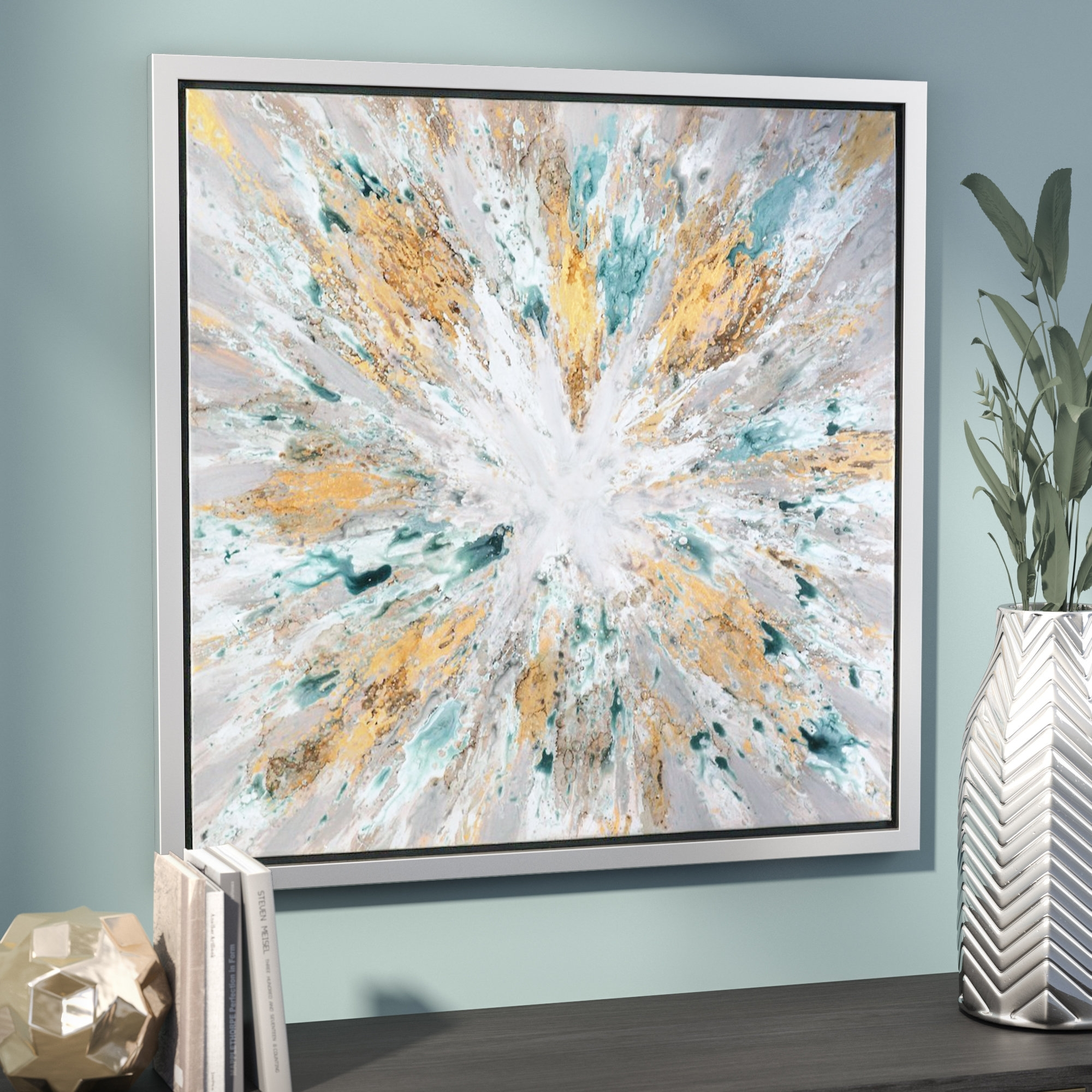 Willa Arlo Interiors 'exploding Star Modern' Abstract Framed Oil Intended For Most Recently Released Ottawa Abstract Wall Art (Gallery 12 of 20)