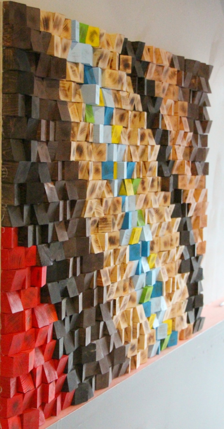 Wood Mosaic, Woodburning Reclaimed Wood Wall Art, Geometric Art Within 2017 Sculpture Abstract Wall Art (View 9 of 20)