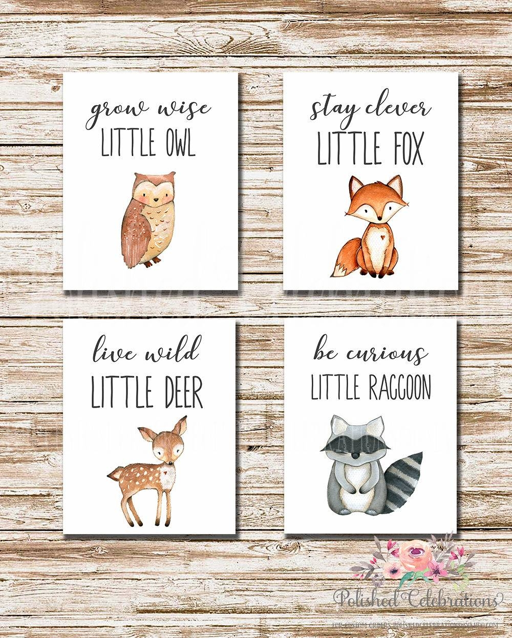 Woodland Animals Series / Stay Clever Live Wild Grow Wise Be Pertaining To Most Up To Date Woodland Animal Wall Art (View 12 of 20)