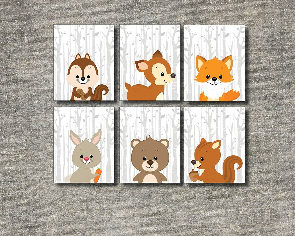 Woodland Animals Set Of 6 Printable Nursery Wall Art Forest With Regard To 2017 Woodland Animal Wall Art (View 13 of 20)