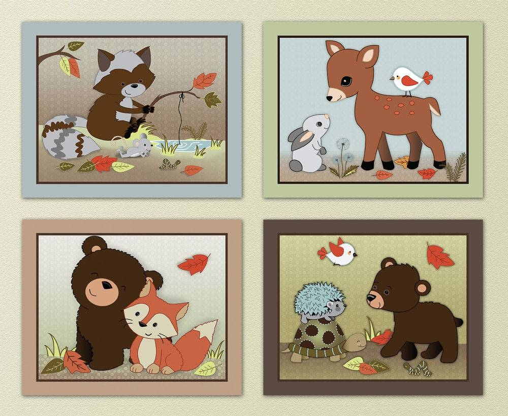 Woodland Creatures Nursery Wall Decor : Rainforest Woodland Pertaining To Current Woodland Animal Wall Art (View 16 of 20)