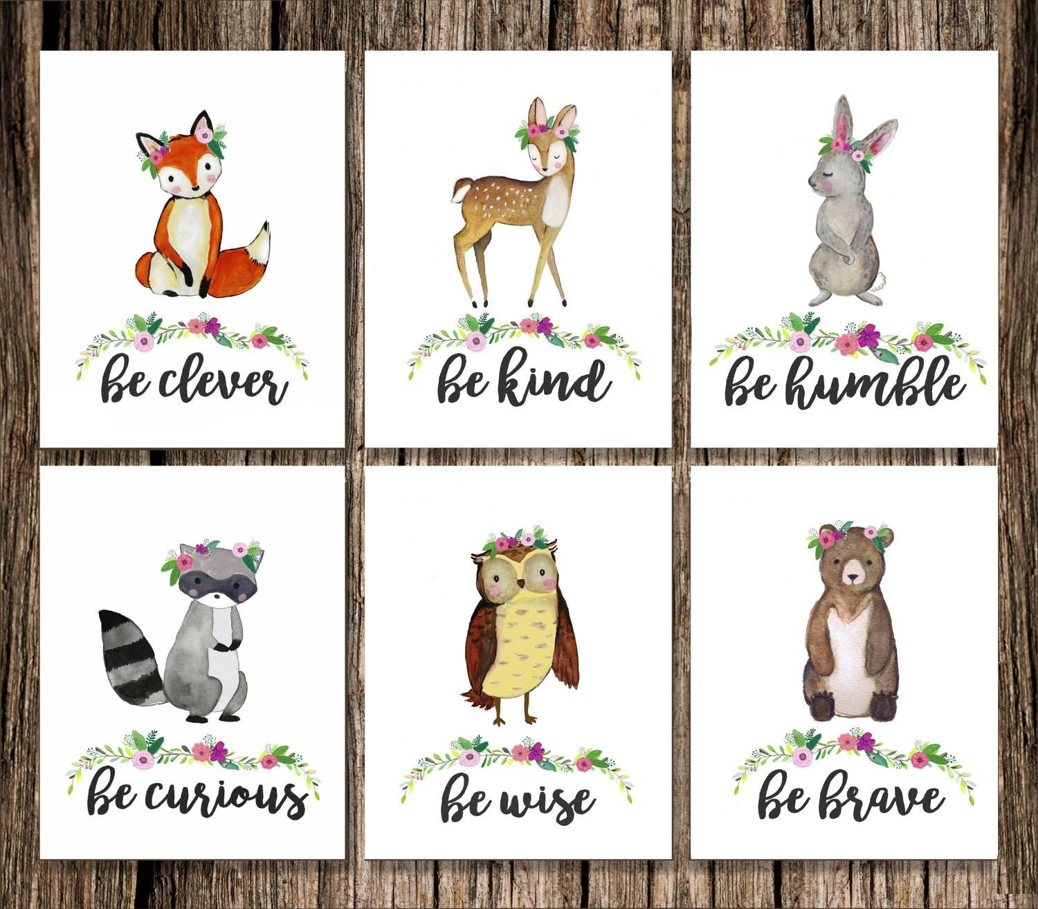 Woodland Girl Nursery / Baby Shower Gift / Forest Animal For Most Current Woodland Animal Wall Art (View 17 of 20)