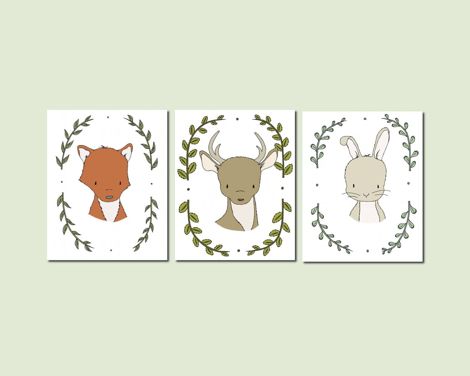 Woodland Nursery Art Woodland Animal Portraits Set Of 3 With Regard To 2018 Woodland Animal Wall Art (View 18 of 20)