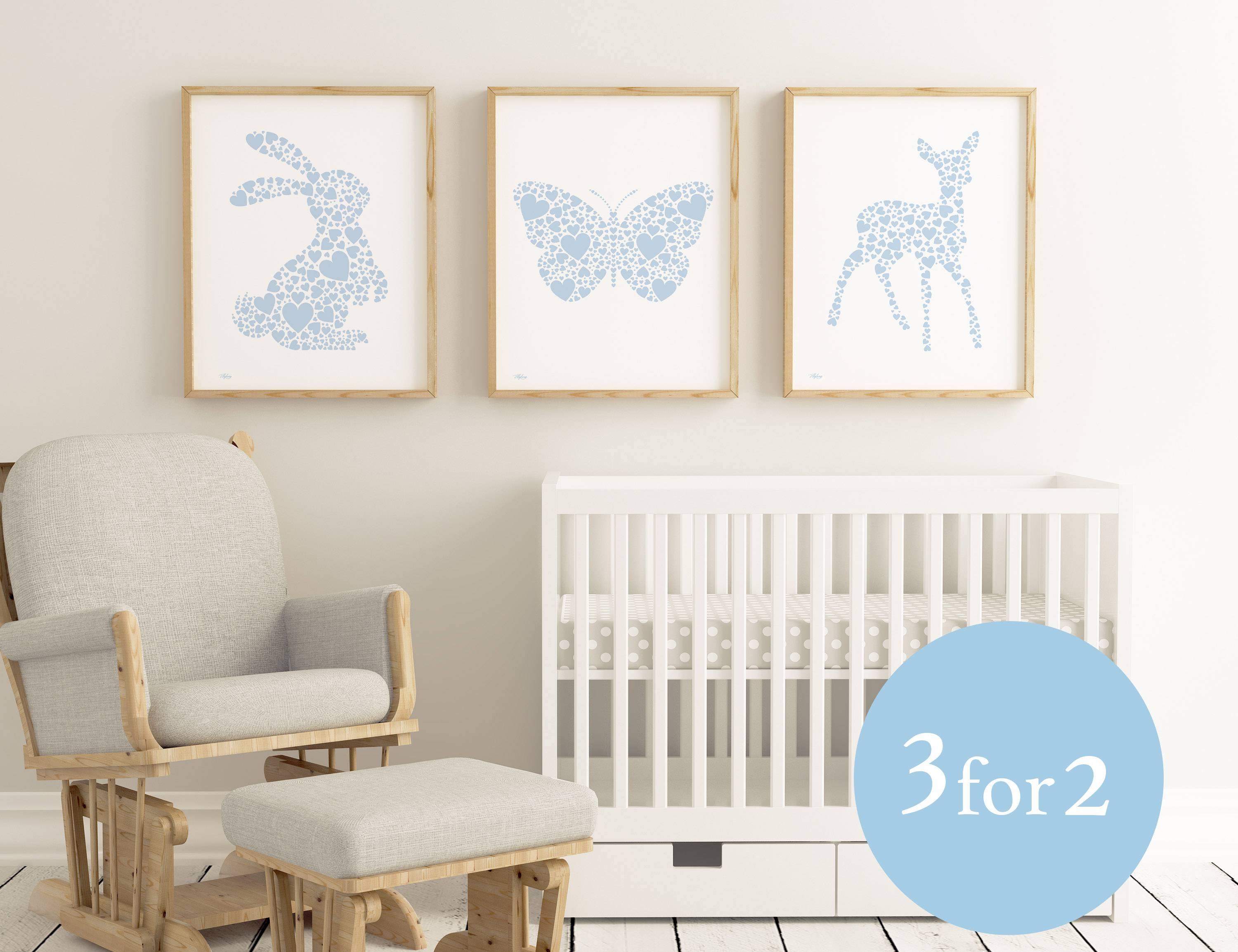 Woodland Nursery Print Set | Fortune & Hopkins | Nursery Art In Current Baby Animal Wall Art (View 8 of 20)