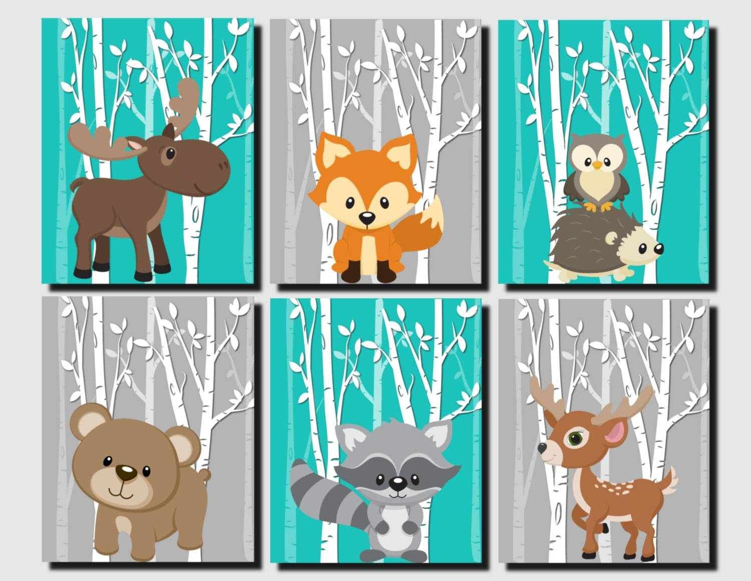Woodland Nursery Woodland Wall Decor Kids Teal Gray Forest Pertaining To Most Recent Woodland Animal Wall Art (View 20 of 20)