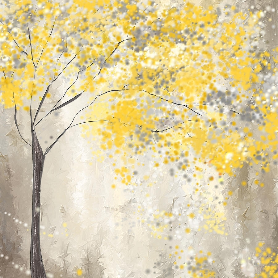 Yellow And Gray Tree Paintinglourry Legarde Intended For Best And Newest Yellow And Grey Abstract Wall Art (Gallery 3 of 20)