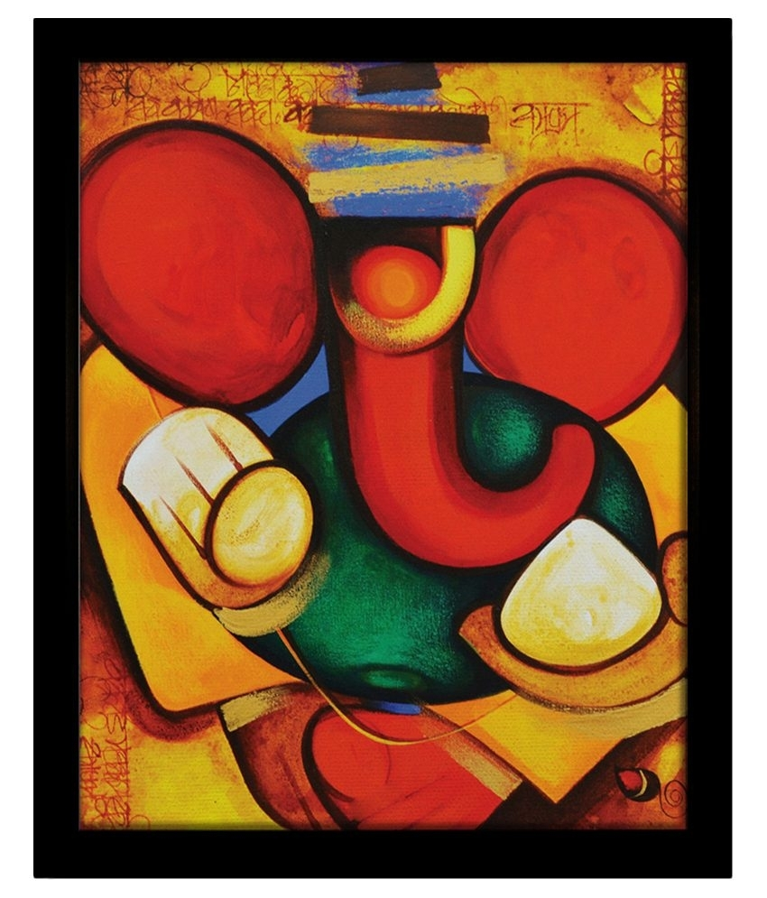 Yudezine Modern Art Ganesha Yellow Painting | Festival Cafts With Regard To Most Recently Released Abstract Ganesha Wall Art (View 20 of 20)