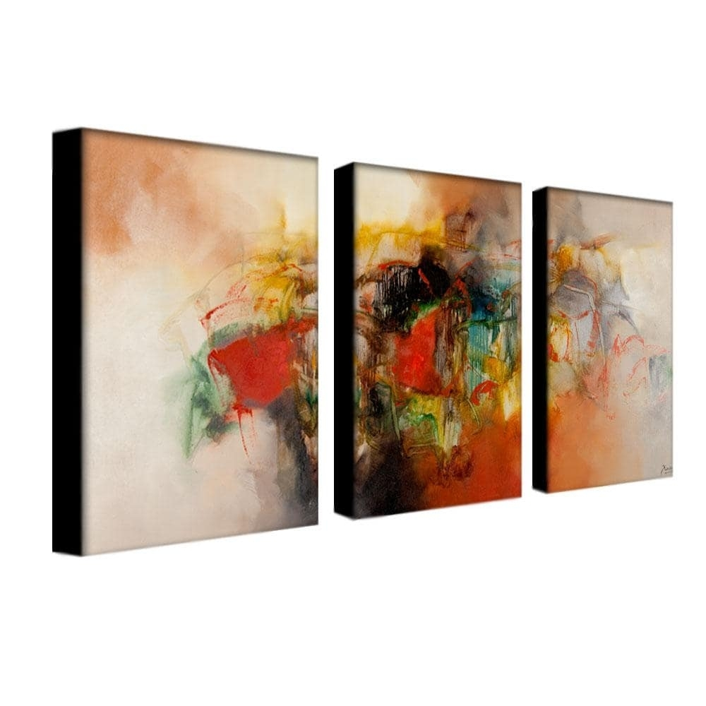 Zavaleta 'abstract Vi' 3 Piece Art Set – Free Shipping Today In Best And Newest Overstock Abstract Wall Art (View 9 of 20)