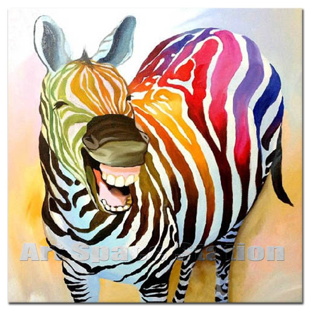 Zebra With Smile Colorful Animals Abstract Oil Painting Modern With Regard To Newest ColorfulAnimal Wall Art (View 20 of 20)