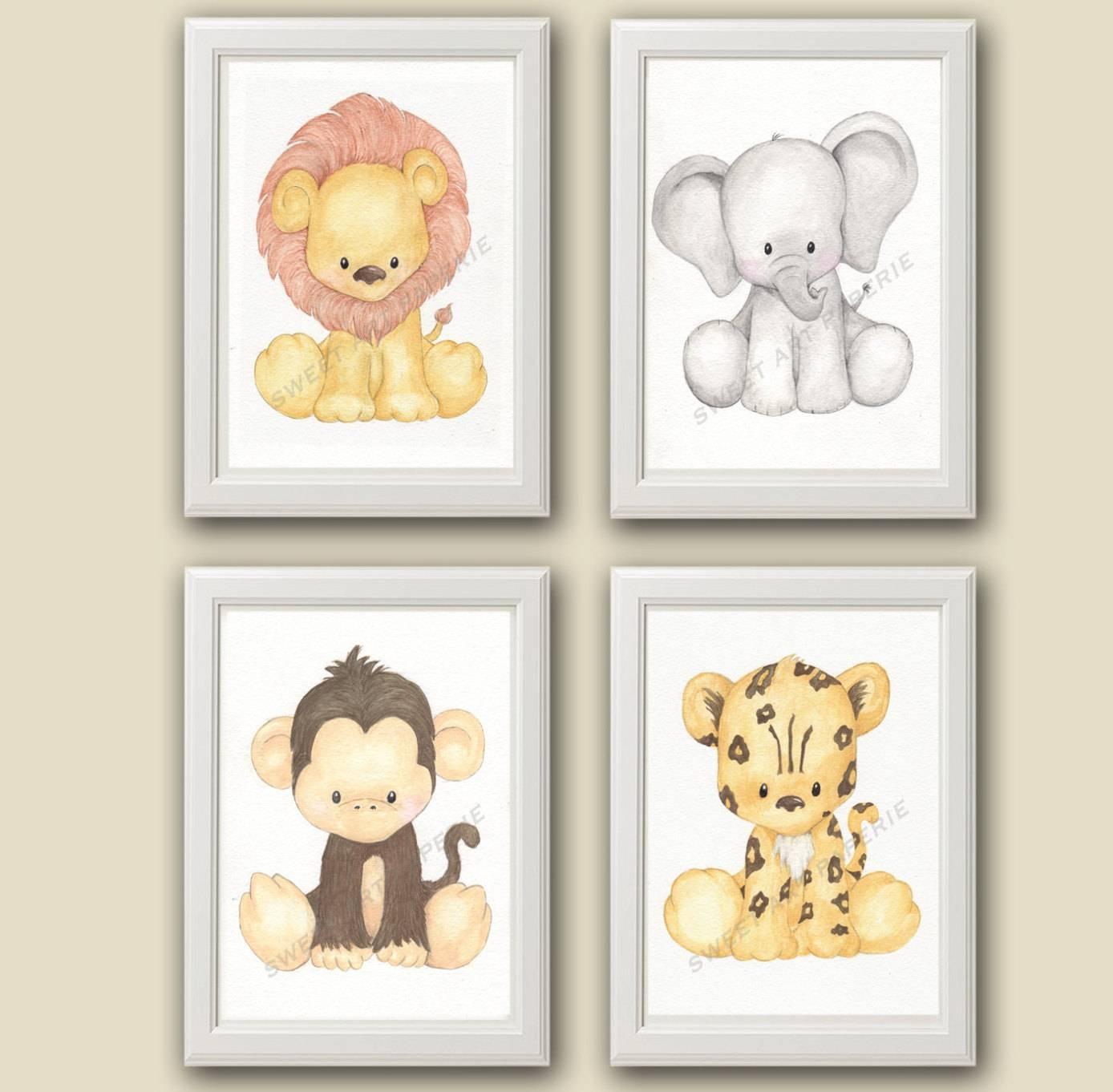 Zoo Nursery Art Nursery Decor Set Of 4 Prints Zoo With Most Up To Date Animal Wall Artfor Nursery (View 5 of 20)
