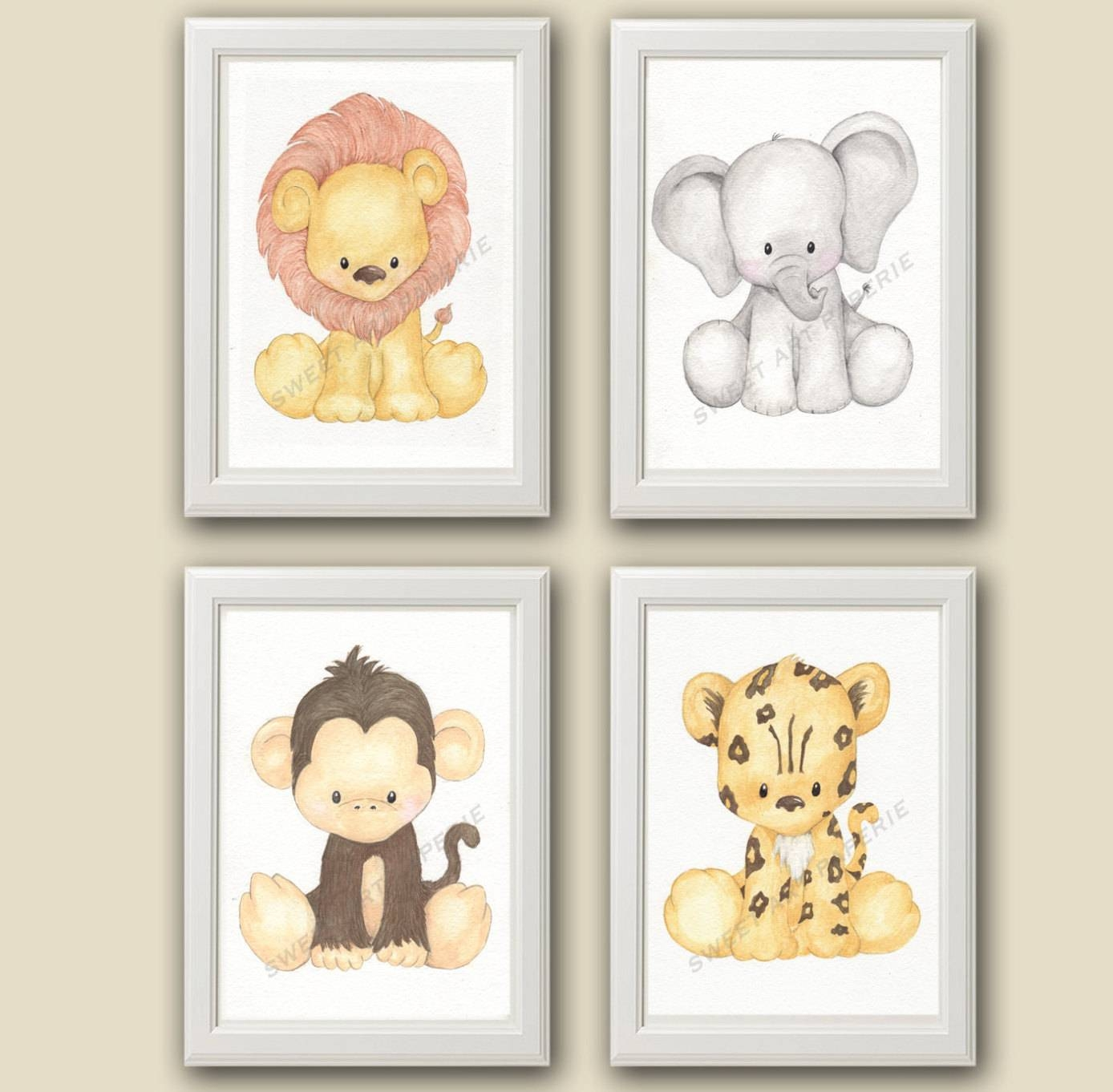 Zoo Nursery Art Nursery Decor Set Of 4 Prints Zoo Within Most Popular Baby Animal Wall Art (View 20 of 20)