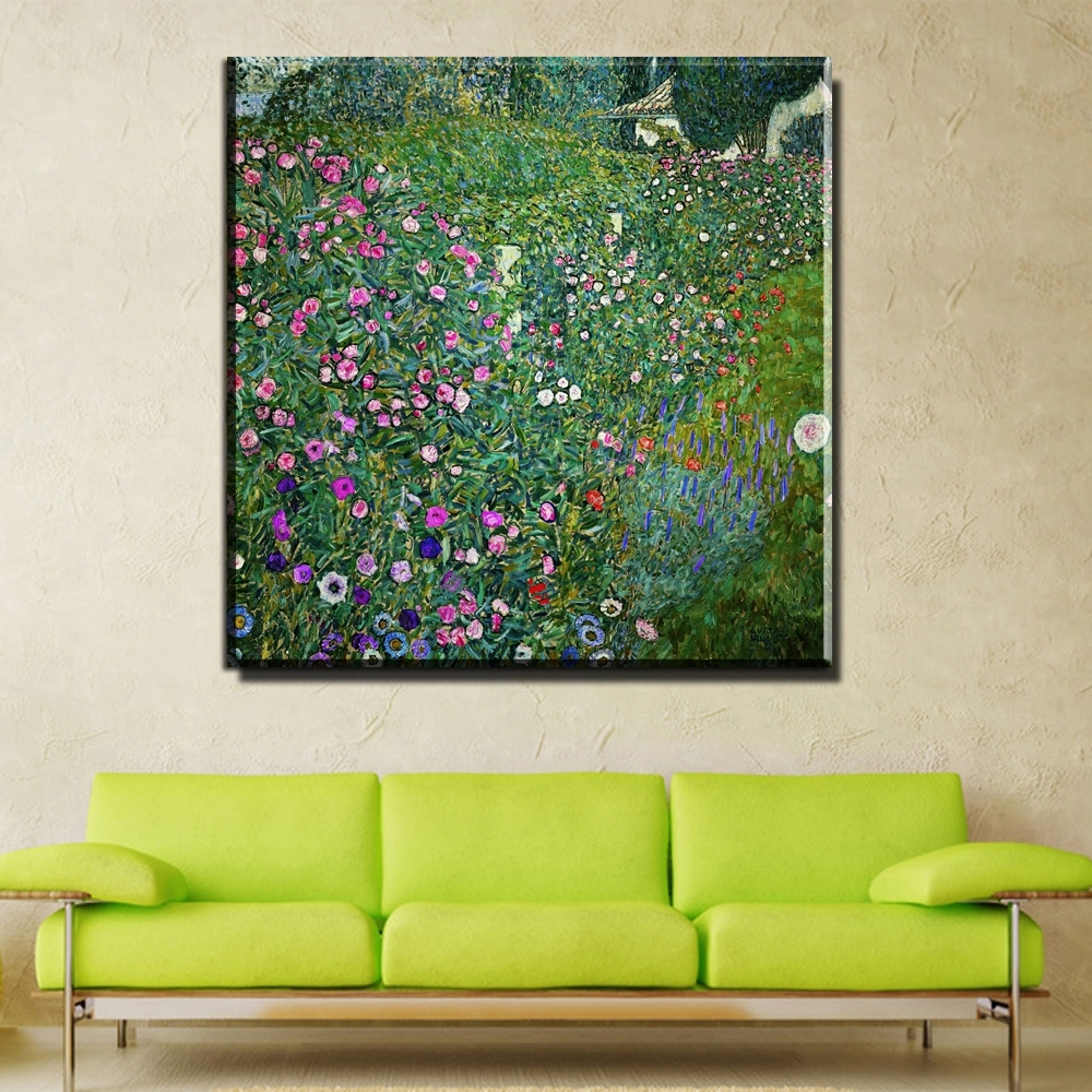 Zz745 2017 Modular Pictures Gustav Klimt Flower Garden Print Regarding Most Popular Abstract Garden Wall Art (View 20 of 20)