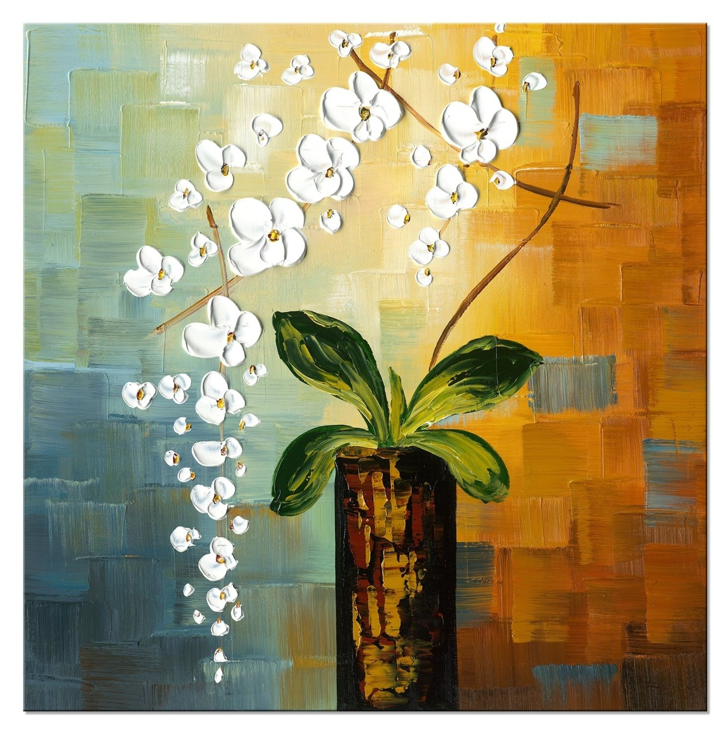 1 Pc Floral Canvas Wall Art : Cheap Oil Paintings|Paintings For With Regard To Most Up To Date Hand Painted Canvas Wall Art (View 1 of 15)
