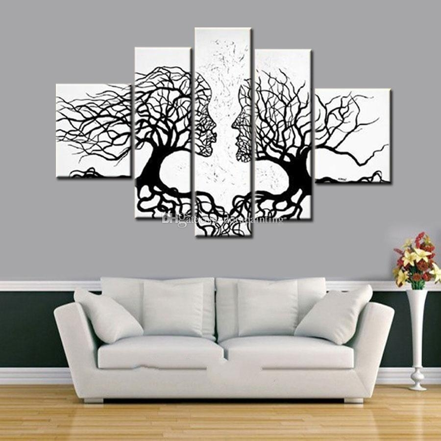 100% Hand Made Promotion Black White Tree Canvas Painting Abstract Inside Most Popular Black And White Canvas Wall Art (View 1 of 15)
