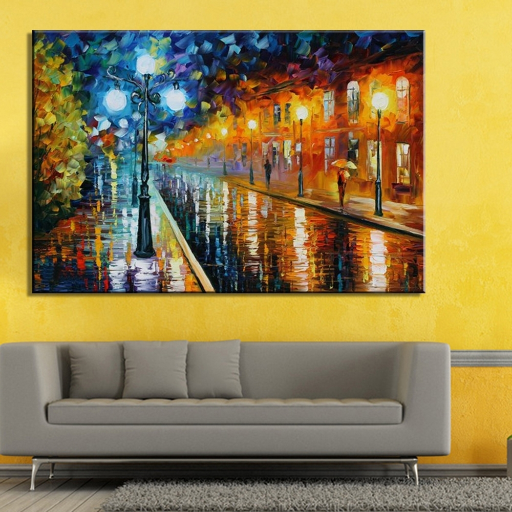 100% Hand Painted Free Shipping Colorful Oil Painting On Canvas For Most Current Hand Painted Canvas Wall Art (View 2 of 15)