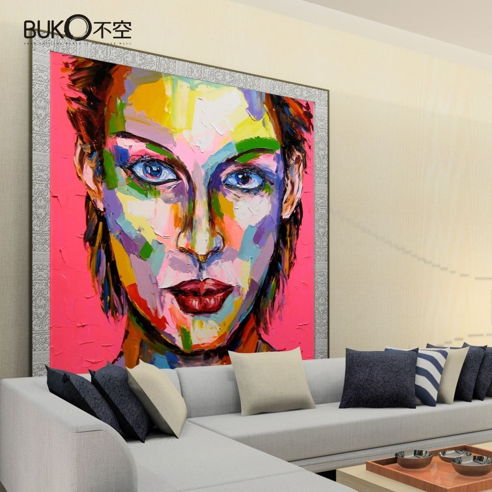 100% Hand Painted Joker Canvas Painting Paintnumber Palette With Recent Joker Canvas Wall Art (View 1 of 15)