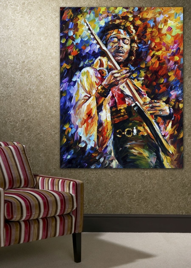 100% Handpainted Palette Knife Painting Jazz Music Guitarist Soul In Most Current Jazz Canvas Wall Art (View 1 of 15)