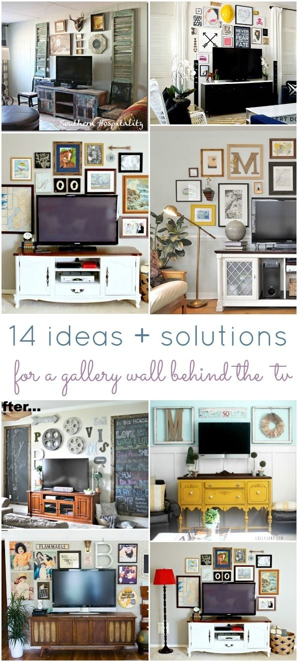 14 Ideas And Solutions For A Gallery Wall Behind The Tv | Gallery With Recent Wall Accents Behind Tv Or Couch (View 1 of 15)